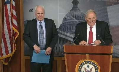 Arizona Republican Senator John McCain and Michigan Democratic Senator Carl Levin team up on alternative plan to reform filibuster rules in the U.S. Senate. They held a Capitol news briefing.