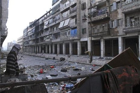 Mannequins are set up to confuse snipers loyal to Syria's President Bashar al-Assad in the old city of Aleppo December 23, 2012. Picture tak