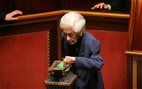Italian senator and Nobel prize winner Rita Levi Montalcini votes during the fourth round of votes to elect the new Senate speaker in Rome A