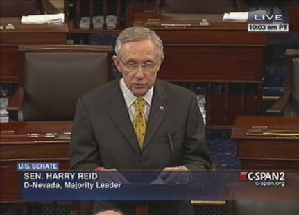 U.S. Senate Majority Leader Harry Reid (D-NV) is shown in this C-Span video footage as he addresses the Senate during an unusual session on