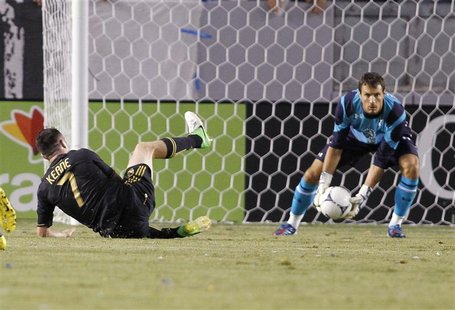 Tottenham Hotspur's goalkeeper Carlo Cudicini (R) makes a save on Los Angeles Galaxy's Robbie Keane (L) during the first half of an internat