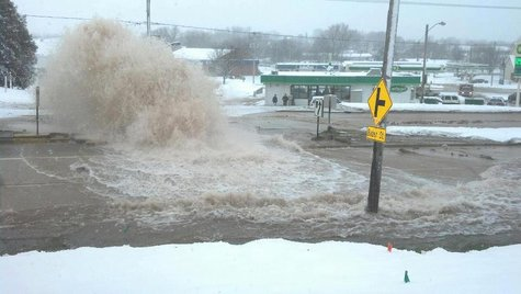 Water main break at E Mason & Bader Street (Photo courtesy of Fox 11 WLUK-TV)