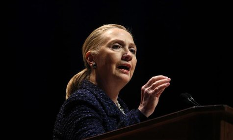 "U.S. Secretary of State Hillary Clinton delivers a speech ""Frontlines and Frontiers: Making Human Rights a Human Reality"" at Dublin City Uni"