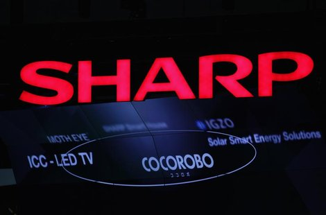 A logo of Sharp Corp is pictured at CEATEC JAPAN 2012 electronics show in Chiba, east of Tokyo, October 2, 2012. REUTERS/Yuriko Nakao