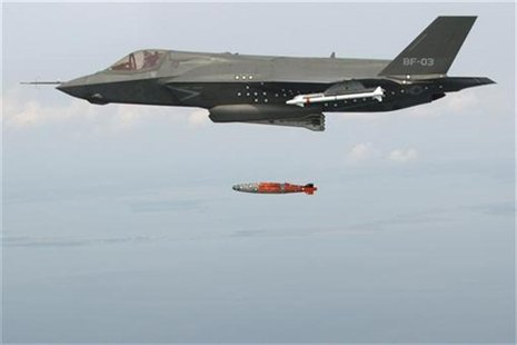 BF-3, a short take-off and vertical landing F-35 Lightning II, releases an inert 1,000 lb. GBU-32 Joint Direct Attack Munition (JDAM) separa