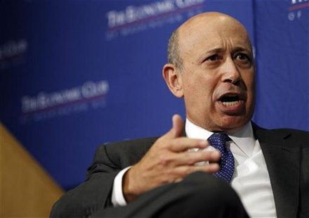 Lloyd Blankfein, chairman and CEO of The Goldman Sachs Group, delivers remarks at an event sponsored by the Economic Club of Washington in W