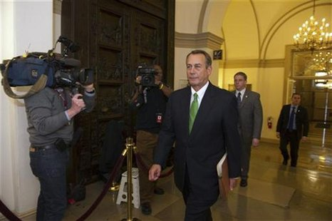 Speaker of the House John Boehner (R-OH) arrives at the U.S. Capitol in Washington January 1, 2013. The Senate moved the U.S. economy back f