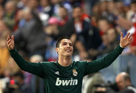 Real Madrid's Cristiano Ronaldo gestures during their Spanish First Division soccer match against Malaga at La Rosaleda stadium in Malaga De