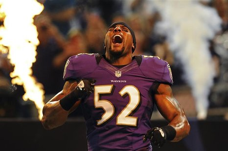 Baltimore Ravens linebacker Ray Lewis is introduced to the crowd before playing the Detroit Lions in a preseason NFL football game in Baltim