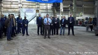 Governor Scott Walker speaks at Valley Plating and Fabricating in Green Bay, Wednesday, January 2, 2013. (courtesy of FOX 11).