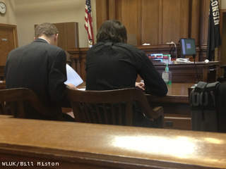 Zachary Gauthier, 18, appears in Manitowoc County court with his attorney Jan. 2, 2013, for his sentencing for a crash that killed two other teens. (courtesy of FOX 11).