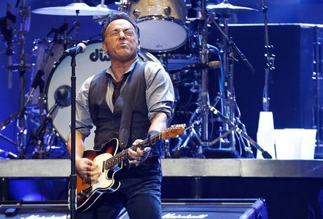 "Singer Bruce Springsteen performs during the ""12-12-12"" benefit concert for victims of Superstorm Sandy at Madison Square Garden in New York"