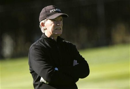 Bill Gross looks on while playing golf at Pebble Golf Links before the start of the PGA Tour Pebble Beach National Pro-Am in Pebble Beach, C