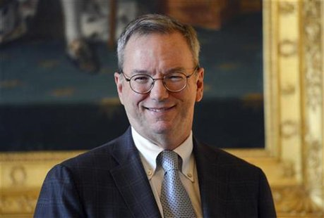 Google's Executive Chairman Eric Schmidt poses prior to a meeting at the Culture Ministry in Paris October 29, 2012. REUTERS/Miguel Medina/P
