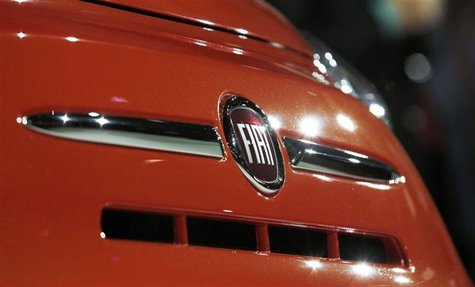 The Fiat logo is pictured at an event to introduce the 2013 Fiat 500 cars at the 2012 Los Angeles Auto Show in Los Angeles, California Novem