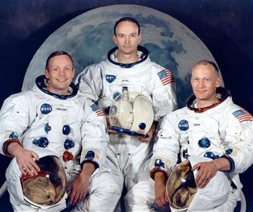 Apollo 11 crew's portrait session shows astronauts Neil A. Armstrong, Michael Collins and Edwin Aldrin in this July 1969 handout photo court