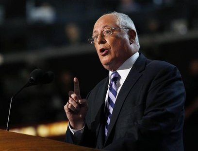 Governor of Illinois Pat Quinn addresses the first session of the Democratic National Convention in Charlotte, North Carolina, September 4,