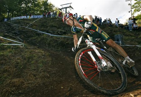 Burry Stander of South Africa cycles during the men's cross country at the UCI Mountain Bike World Championships in Mount Ste-Anne, Beaupre,