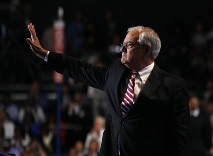 U.S. Rep. Barney Frank (D-MA) waves after addressing the final session of the Democratic National Convention in Charlotte, North Carolina Se