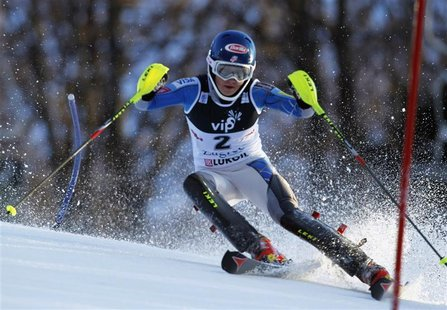 Mikaela Shiffrin of the U.S. clears a gate during the first run of the Alpine Skiing World Cup women's slalom ski race in Zagreb January 4,