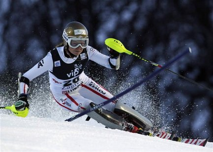 Bernadette Schild of Austria clears a gate during the first run of the Alpine Skiing World Cup women's slalom ski race in Zagreb January 4,