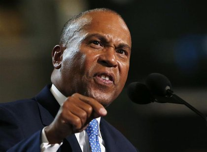Massachusetts Governor Deval Patrick addresses the first session of the Democratic National Convention in Charlotte, North Carolina Septembe
