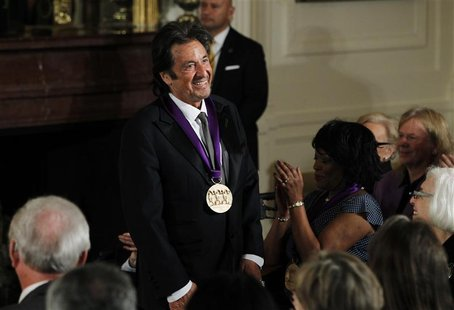 National Medal of Arts recipient, actor Al Pacino acknowledges the applause after receiving the medal from U.S. President Barack Obama at a
