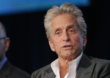 "Actor Michael Douglas takes part in a panel discussion of HBO's ""Behind The Candelabra"" during the 2013 Winter Press Tour for the Television"