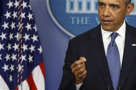 U.S. President Barack Obama makes a point during remarks to reporters after meeting with congressional leaders at the White House in Washing