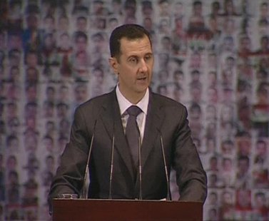 Syria's President Bashar al-Assad speaks at the Opera House in Damascus in this still image taken from video January 6, 2013. REUTERS/Syrian