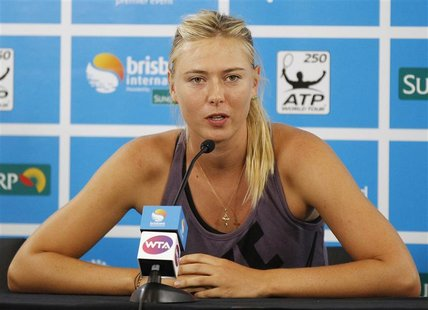 Maria Sharapova of Russia speaks during a news conference at the Brisbane International tennis tournament in Brisbane January 1, 2013. REUTE