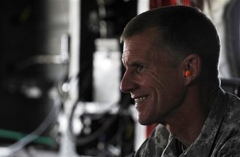 The U.S. and NATO commander in Afghanistan U.S. General Stanley McChrystal wears earplugs as he leaves by helicopter after a meeting between