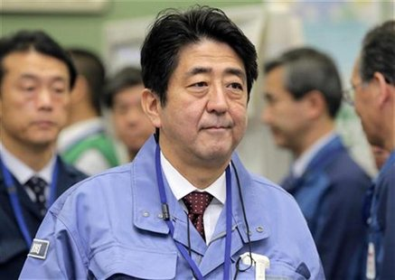 Japan's new Prime Minister Shinzo Abe inspects the tsunami-crippled Fukushima Daiichi nuclear power plant in Fukushima Prefecture December 2