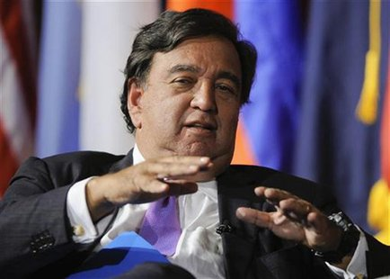 Former Governor of New Mexico Bill Richardson fields a question during the University of Southern California's Schwarzenegger Institute for
