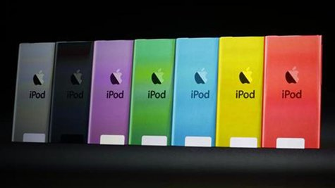 The different colours available for the iPod Touch presented during Apple Inc.'s iPhone media event in San Francisco, California September 1