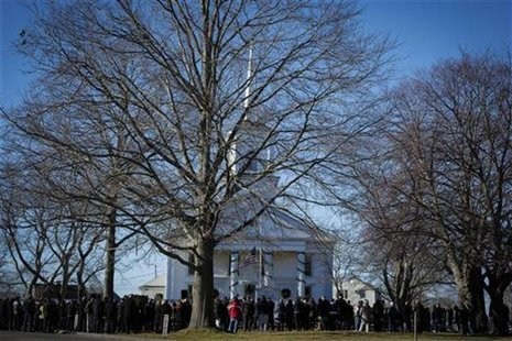 Mourners attend the funeral service of Sandy Hook Elementary School shooting, teacher victim Victoria Soto, outside Lordship Community Churc