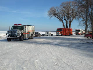Emergency vehicles are seen at Bay Shore Park in New Franken as an ice rescue is being performed on Green Bay, Jan. 7, 2013. (courtesy of FOX 11).