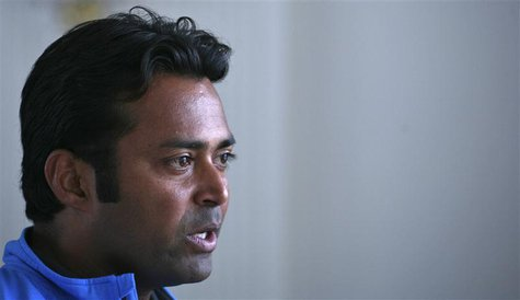India's tennis player Leander Paes speaks during an interview with Reuters at the Delhi Lawn Tennis Association (DLTA) stadium in New Delhi