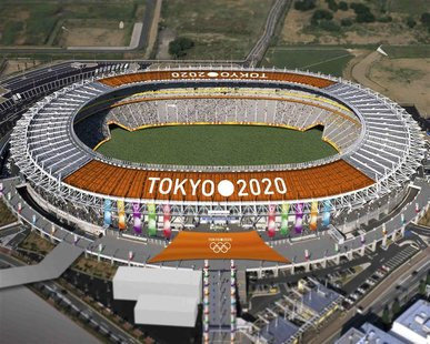 The Tokyo Stadium, one of the proposed Olympic stadiums for the 2020 Summer Olympic games, is seen in this computer-generated file handout i