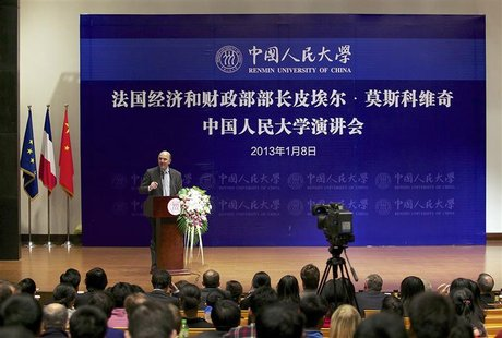 France's Finance Minister Pierre Moscovici delivers a speech in Renmin University during his visit in Beijing, January 8, 2013. REUTERS/Chin