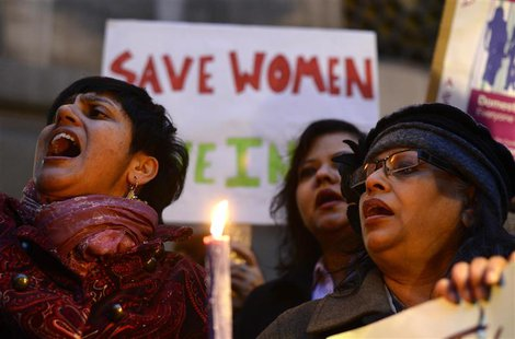 Women protest outside the Indian High Commission, London January 7, 2013. Five men accused of raping and murdering an Indian student were re