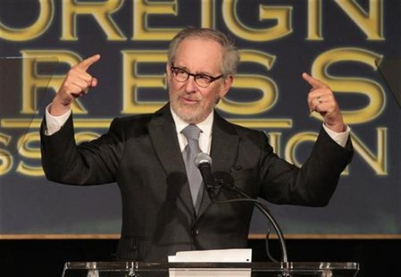 Director Steven Spielberg speaks at The Hollywood Foreign Press Association's (HFPA) annual luncheon to announce financial grants to film sc