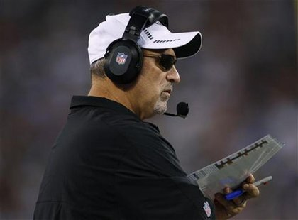 New York Jets offensive coordinator Tony Sparano looks on against the New York Giants during the second quarter of their pre-season NFL foot