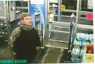 Surveillance photo from the robbery of the Walgreens at W. 9th Ave. and S. Koeller St. in Oshkosh, Jan. 8, 2013.