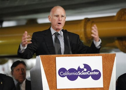 California Governor Jerry Brown speaks during the opening ceremony of the Space Shuttle Endeavour Exhibition at the California Science Cente