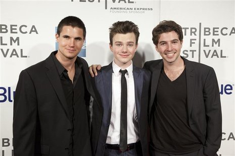 "Actors Robbie Amell (L), Chris Colfer (C) and Roberto Aguire arrive for the world premiere of ""Struck by Lightning"" as part of the Tribeca F"