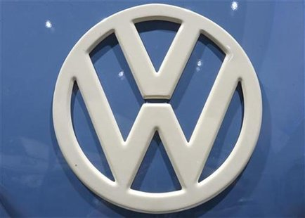 Logo of German carmaker Volkswagen, is pictured at the IAA truck show in Hanover, September 18, 2012. Picture taken September 18. REUTERS/Fa