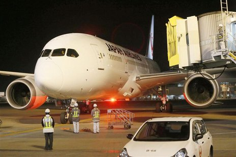 Japan Airlines' (JAL) Boeing Co's 787 plane which encountered the mishap of a fuel leak arrives at New Tokyo international airport in Narita