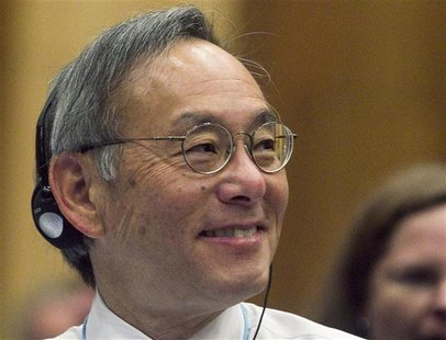 U.S. Secretary of Energy Steven Chu smiles as he attends the 56th IAEA General Conference at the UN headquarters in Vienna September 17, 201