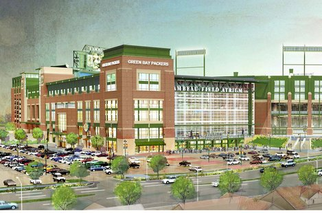 Artist rendering of new $140.5 renovations to Lambeau Field Atrium
